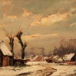 David Schulman (1881-1966) Gezicht op Blaricum in de winter