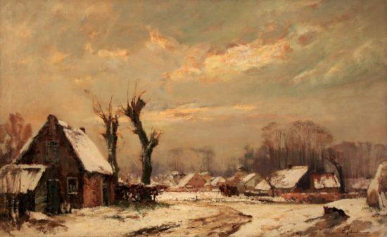 David Schulman (1881-1966) Gezicht op Blaricum in de winter