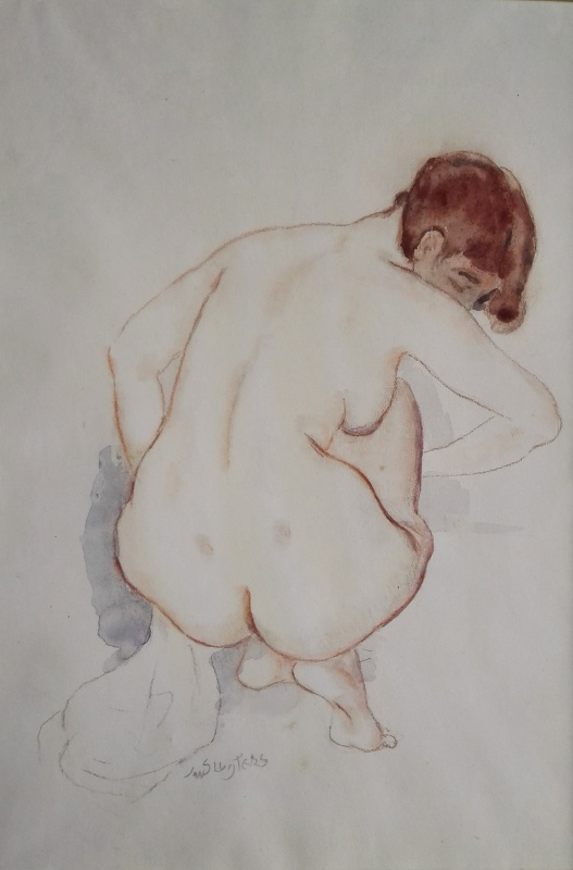 Jan Sluijters - Zittend naakt op de rug gezien